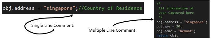 Writing Single line and multiple line comments
