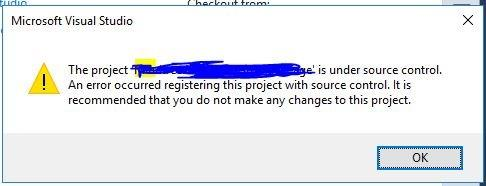 An error occurred registering this product with the Source control : TFS